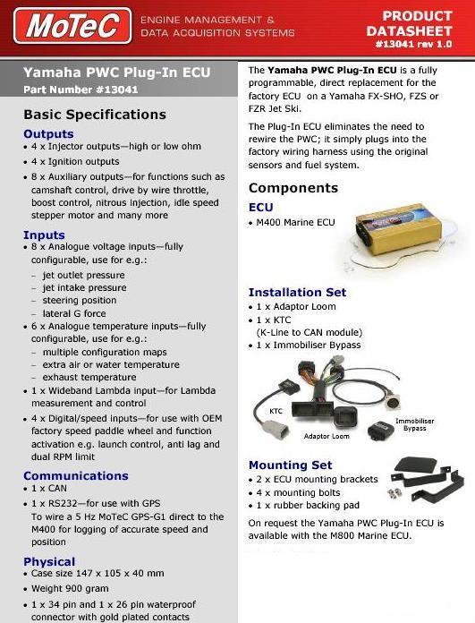 Yamaha SHO watercraft -- MoTeC M400 plug-in kit - Precision
